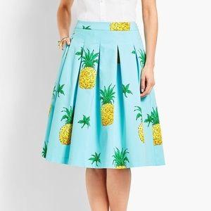Talbots Pineapple-Print Pleated Full Skirt